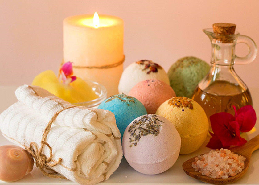 Single Color Cellulose Bath Salt Bombs / Home Nature Scent Bubble Bath Balls